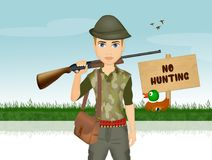 Man hunter with rifle. Illustration of man hunter with rifle Royalty Free Stock Photos