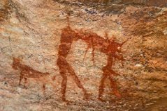 Man hunting. bushman's prehistoric cave art Royalty Free Stock Photos