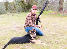 Man Hunting With Dog Stock Image