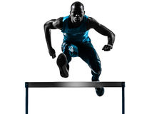 Man hurdler runner  silhouette Stock Photos