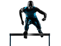 Man hurdler runner  silhouette Royalty Free Stock Image