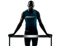 Man hurdler runner  silhouette Stock Photo