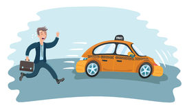Man in a hurry for the departing taxi Royalty Free Stock Image