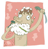 Man hurry in the morning shave and shower at the same time. Stock Images