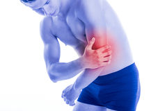 Man hurt elbow due to contusion Stock Photography