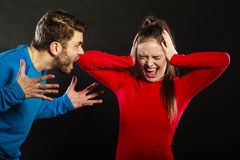 Man husband abusing woman wife. Violence. Husband abusing wife. Aggresive men screaming at crying scared woman. Domestic violence aggression. Bad relationship Royalty Free Stock Photos