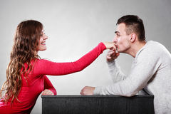 Man husband kissing woman hand. Love couple. Stock Images
