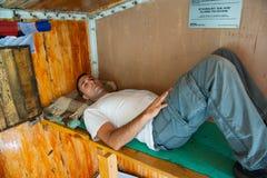 Man at Hut Kazan Royalty Free Stock Image
