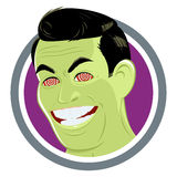 Man with hypnotic eyes. Cartoon illustration of man with green face and hypnotic eyes, white background Royalty Free Stock Image