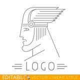 Man i bevingad hjälm Huvud av den grek- eller Viking guden Logomall Redigerbart vektordiagram i linjär stil royaltyfri illustrationer