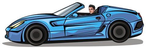 Man i blå cabriolet vektor illustrationer
