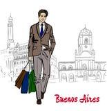 Man i Buenos Aires vektor illustrationer