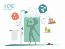 Man i en dusch vektor illustrationer