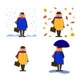 man i en hatt, lag, regnrock, halsduk med en resväska i hans hand på bakgrunden av sidor, under ett paraply, under snön stock illustrationer