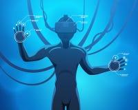 Man i en virtuell verklighethjälm Royaltyfri Bild