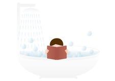 Man i ett bad Arkivbilder