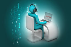 Man i ett modernt skrivbord med bärbara datorn Royaltyfria Bilder