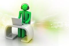 Man i ett modernt skrivbord med bärbara datorn Royaltyfria Foton