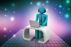 Man i ett modernt skrivbord med bärbara datorn Arkivfoton
