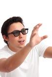 Man i exponeringsglas 3d Arkivfoton