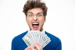 Man i exponeringsglas med att ropa för pengar Arkivbild