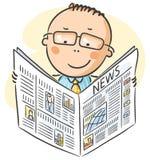Man i exponeringsglas som läser tidningen Royaltyfri Bild