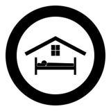 Man i färg för svart för sänghotellsymbol i cirkel vektor illustrationer
