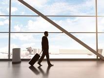 Man i flygplats arkivfoto