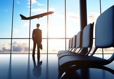 Man i flygplats Arkivfoton