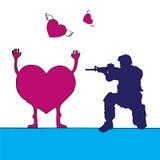 Man i fors för militär likformig i hjärtan Arkivbilder