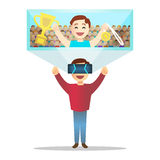 Man i futuristiska tekniskt avancerade exponeringsglas för virtuell verklighet vektor Royaltyfri Bild