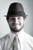 Man i hatt och Tie royaltyfri bild