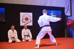Man i karategidemonstration av hans makt Royaltyfri Foto