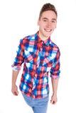 Man i kontrollerad skjorta Fotografering för Bildbyråer