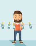 Man i penningtvättaffär vektor illustrationer