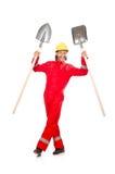Man i röda overaller Royaltyfri Bild