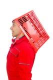Man i röda overaller Arkivfoton