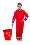 Man i röda overaller Royaltyfri Foto