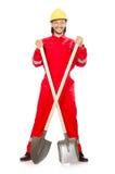 Man i röda overaller Royaltyfri Fotografi