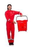 Man i röda overaller Royaltyfria Foton