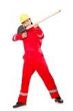 Man i röda overaller Royaltyfria Bilder