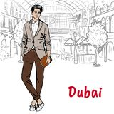 Man i shoppinggalleria i Dubai vektor illustrationer