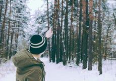 Man i skog royaltyfri foto