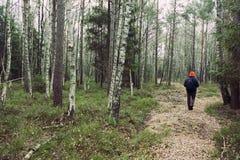Man i skogen Arkivfoton