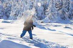 Man i skogen, vinterdag arkivfoton