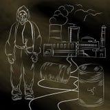 Man i skyddande dräkt och gasmask arkivbilder