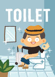Man i toaletten Royaltyfri Illustrationer