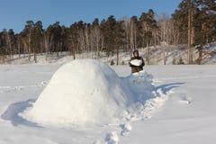 Man i varm kläder som bygger en igloo på en snöig glänta i vintern, Sibirien, Ryssland royaltyfri fotografi