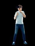 Man i virtuell verklighethörlurar med mikrofon eller exponeringsglas 3d Fotografering för Bildbyråer