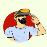 Man i VR-exponeringsglas Fotografering för Bildbyråer